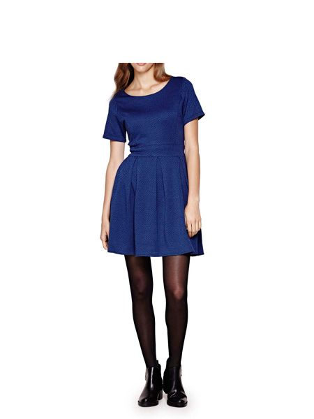 Yumi Blue Jersey Knit Skater Dress