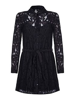 Black Floral Lace Shirt Dress