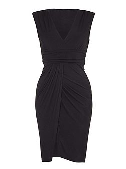 Black Wrapped Waterfall Dress