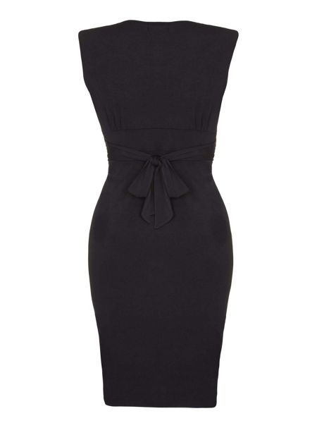 Mela London Black Wrapped Waterfall Dress