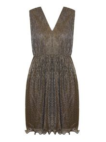 Mela London Bronze Shimmer Skater Dress With V Neck