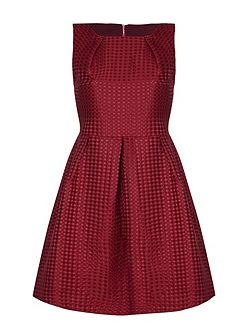 Burgundy Skater Dress With Pleats