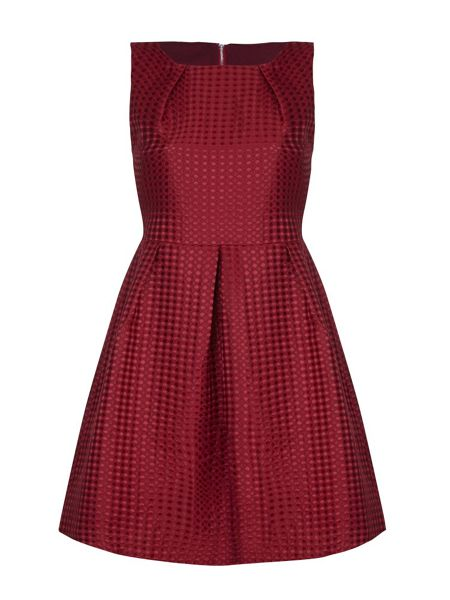 Mela London Burgundy Skater Dress With Pleats