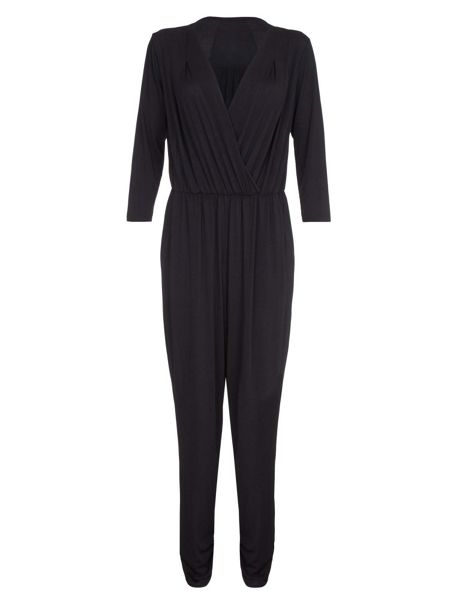 Mela London Black Jumpsuit With Wrap Front