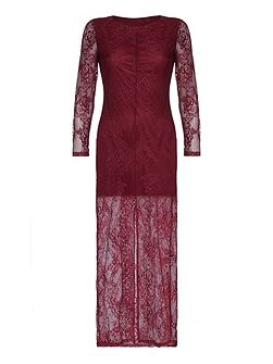 Burgundy Lace Maxi Dress With Long Sleeves