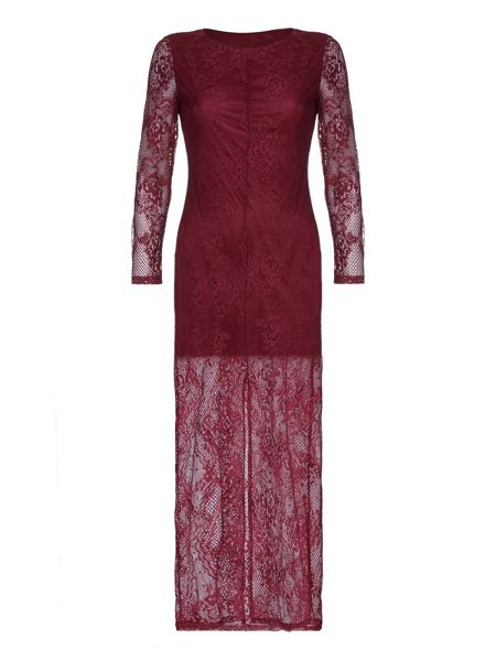 Mela London Burgundy Lace Maxi Dress With Long Sleeves