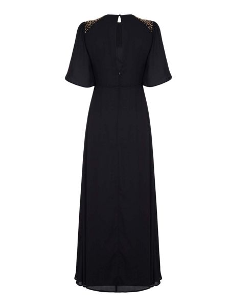 Mela London Black Beaded Maxi Dress