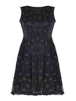 Black Dress With Gold Sparkle Flowers