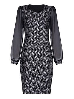 Black Occasion Dress With Metallic Detail