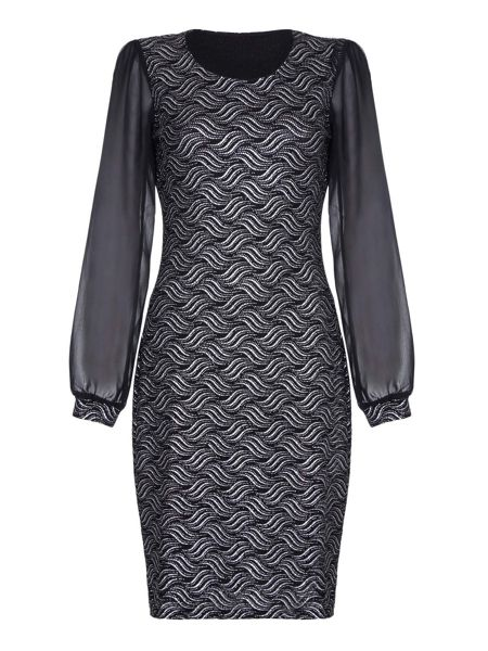 Mela London Black Occasion Dress With Metallic Detail