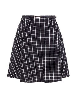 Checked Print Skirt With Belt