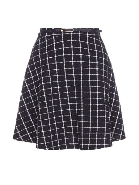 Yumi Checked Print Skirt With Belt