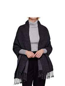 Yumi Grey Reversible Dogtooth and Stripe Scarf