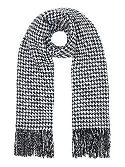 Black Reversible Dogtooth and Stripe Scarf
