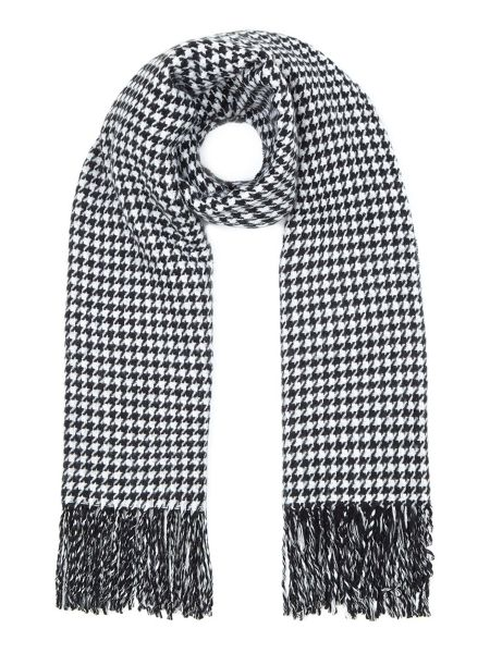 Yumi Black Reversible Dogtooth and Stripe Scarf