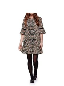 Yumi Bell Sleeve Printed Dress