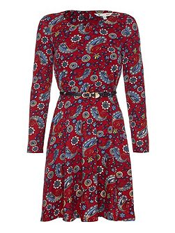 Paisley Long Sleeve Belt Dress