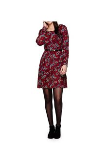 Yumi Red Bird Print Zipped Shirt