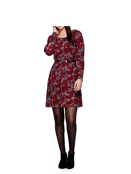 Yumi Paisley Long Sleeve Belt Dress