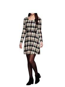Yumi Green Check Knit Belt Dress