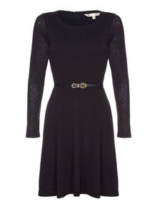 Yumi Black Knitted Belt Dress With Long Sleeves