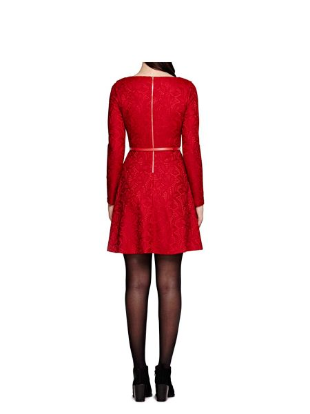 Yumi Red Floral Lace Long Sleeve Dress