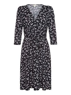 Black Wrap Dress With Ditsy Floral Print