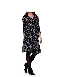 Yumi Black Wrap Dress With Ditsy Floral Print