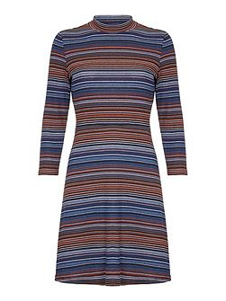 Stripey Jersey High Neck Dress