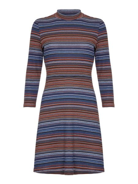 Yumi Stripey Jersey High Neck Dress