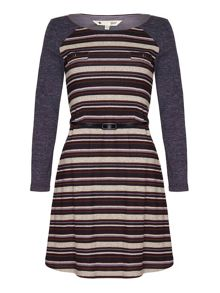 Yumi Striped Jersey Dress With Long Sleeves