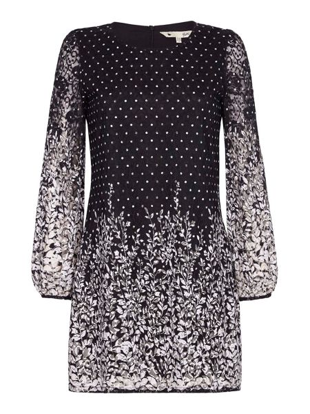 Yumi Spotted Floral Lace Shift Dress