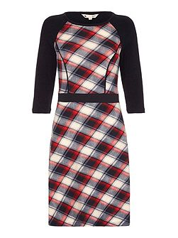 Red Checked Knit Dress