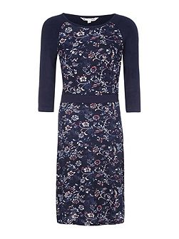 Navy Floral Print Knit Dress