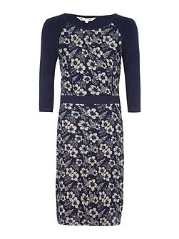 Navy Flower Printed Knit Dress