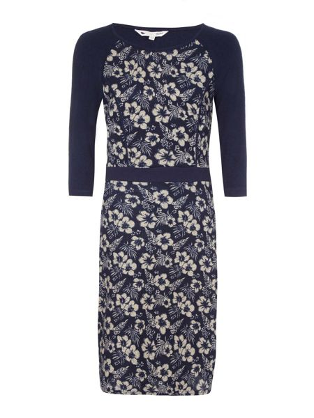 Yumi Navy Flower Printed Knit Dress