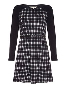 Black Knitted Check Belt Dress