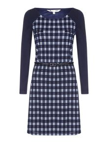Yumi Black Knitted Check Belt Dress