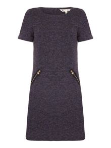 Yumi Grey Knitted Dress With Short Sleeves