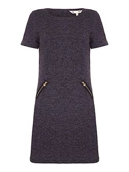 Grey Knitted Dress With Short Sleeves