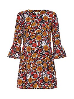 Rusty Floral Printed Dress With Bell Sleeves
