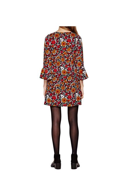 Yumi Rusty Floral Printed Dress With Bell Sleeves