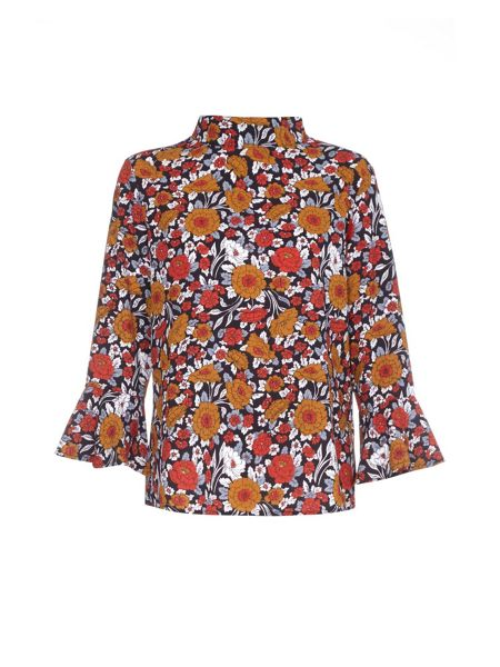 Yumi Rusty Floral Printed Shirt With Bell Sleeves