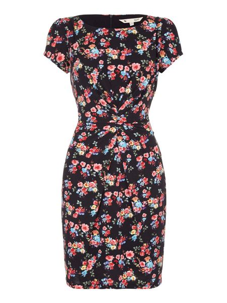Yumi Floral Jersey Dress With Short Sleeves