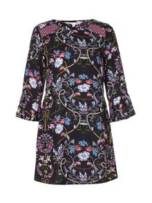 Yumi Floral Print Dress With Bell Sleeves
