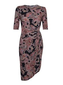 Mela London Multi Paisley Print Short Sleeve Dress