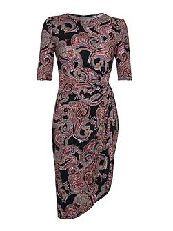 Multi Paisley Print Short Sleeve Dress