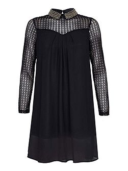 Black Collar Dress With Beads