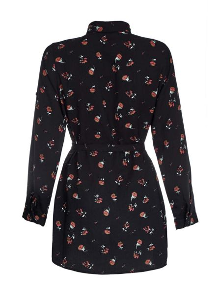 Mela London Black Floral Rose Printed Shirt Dress