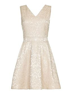 Cream Textured Lace Skater Dress